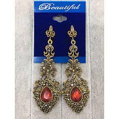 """Вечірні сережки з камінчиками """"Beautiful Jewerly"""""""