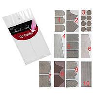Френч полоски для дизайна ногтей Alberta белый, декоративные наклейки, френч полоски