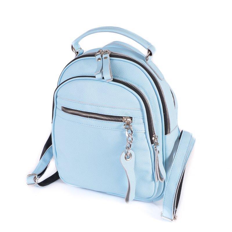 Блакитна жіноча шкіряна сумка-рюкзак М265 трансформер через плече з натуральної шкіри
