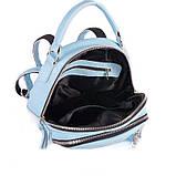 Блакитна жіноча шкіряна сумка-рюкзак М265 трансформер через плече з натуральної шкіри, фото 3