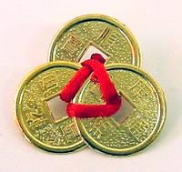 Монеты (3 шт) (2см) в кошелек золотые красная ленточка