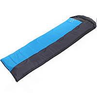 Спальний мішок-ковдра з капюшоном туристичний для походу теплий Zelart Поліестер Блакитний-сірий (СПО SY-081)
