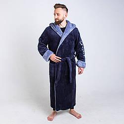Чоловічий махровий халат сірого кольору на запах розмір L - 6XL