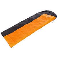 Спальний мішок-ковдра з капюшоном туристичний для походу теплий Zelart Поліестер Помаранчевий-чорний (SY-081)