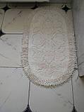 Набор мягких овальных ковриков для ванны из хлопка турецкие белые, фото 5