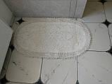 Набор мягких овальных ковриков для ванны из хлопка турецкие белые, фото 3