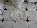 Набор мягких овальных ковриков для ванны из хлопка турецкие белые, фото 4
