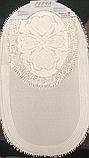 Набор мягких овальных ковриков для ванны из хлопка турецкие белые, фото 7