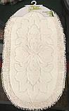 Набор мягких овальных ковриков для ванны из хлопка турецкие белые, фото 6