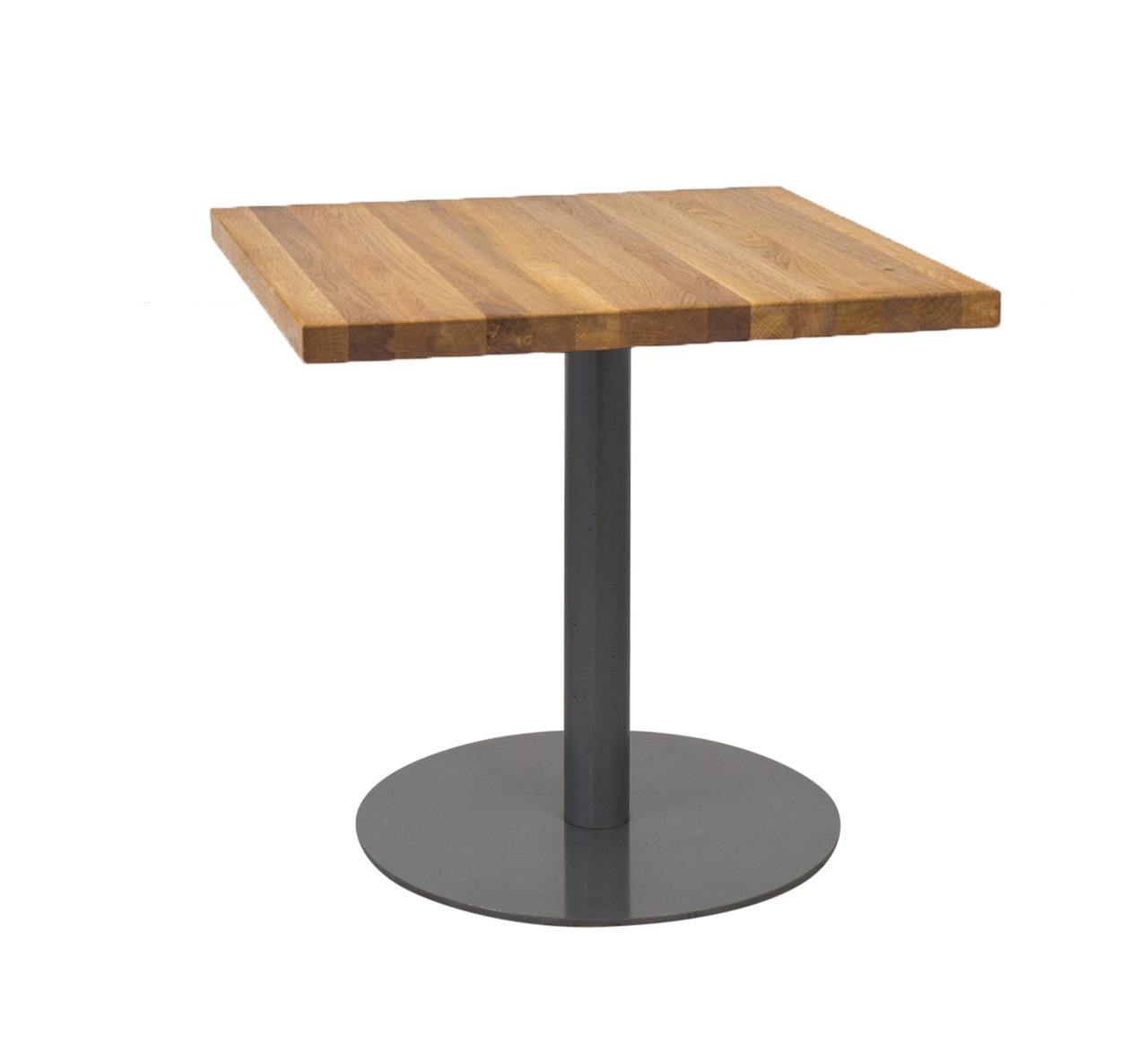 Квадратный столик для кафе из массива дерева, опора из металла