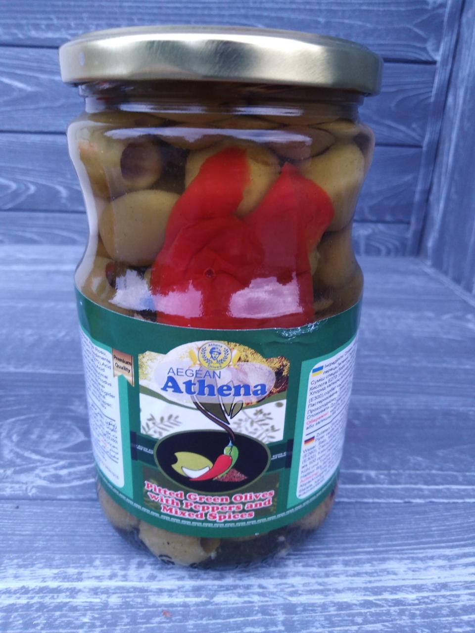 Оливки з перцем і спеціями Aegean Athena 700 г