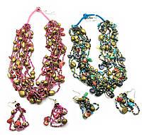Ожерелье из бисера и ракушек+серьги (18357)