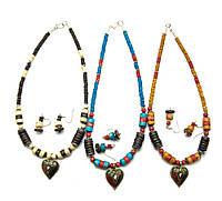 Ожерелье костяное с кулоном и серьгами (25943)