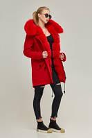 Женская зимняя парка-пальто мех песец