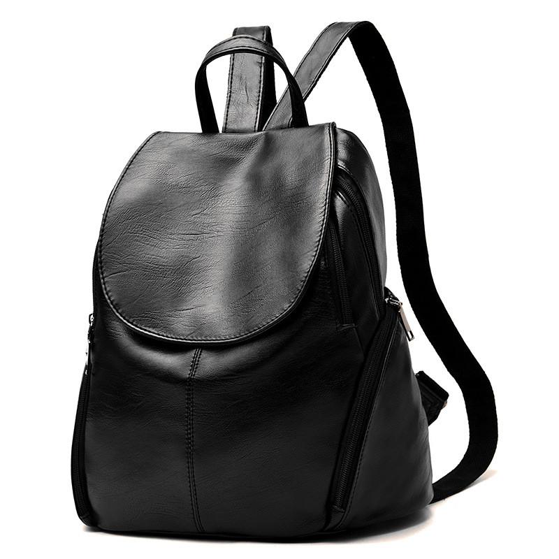 Женский рюкзак из искусственной кожи, однотонный черный СС-4612-10