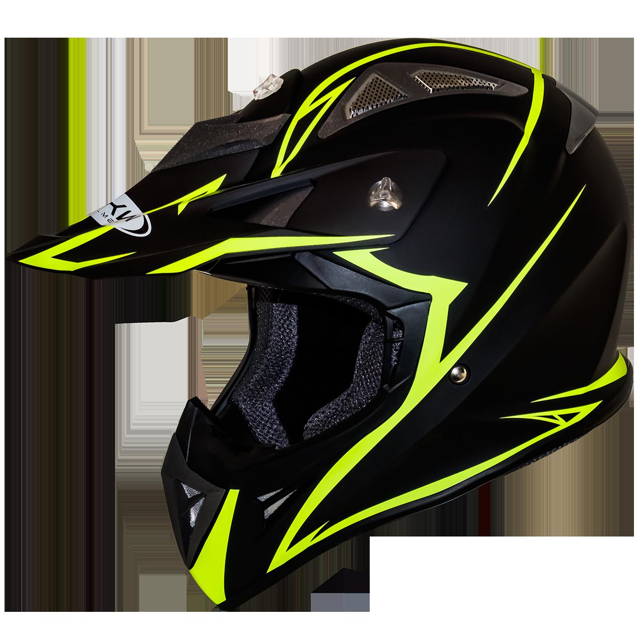 Мотошлем FH-116 шлем для эндуро и мотокросса, матовый чёрный с жёлтым узором