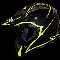Мотошлем FH-116 шлем для эндуро и мотокросса, матовый чёрный с жёлтым узором, фото 1