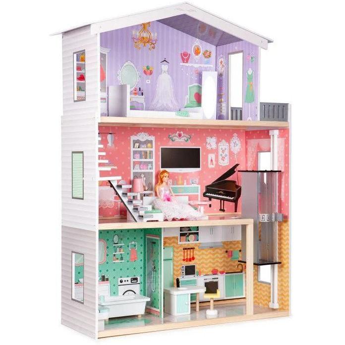 Большой игровой кукольный домик Ecotoys 4128 Candy с лифтом + кукла