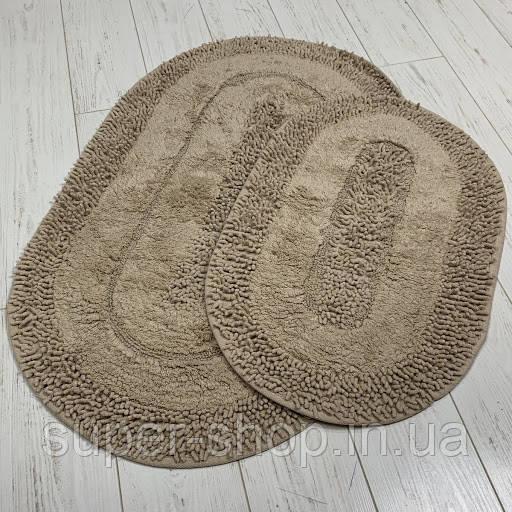 М'які килимки в ванну 60х100 см овальної форми бавовняні Туреччина коричневі