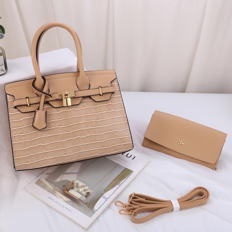Женская сумка 2в1, экокожа PU (бежевый)