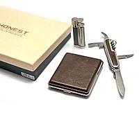 Подарочный набор Зажигалка, портсигар, нож (26375)