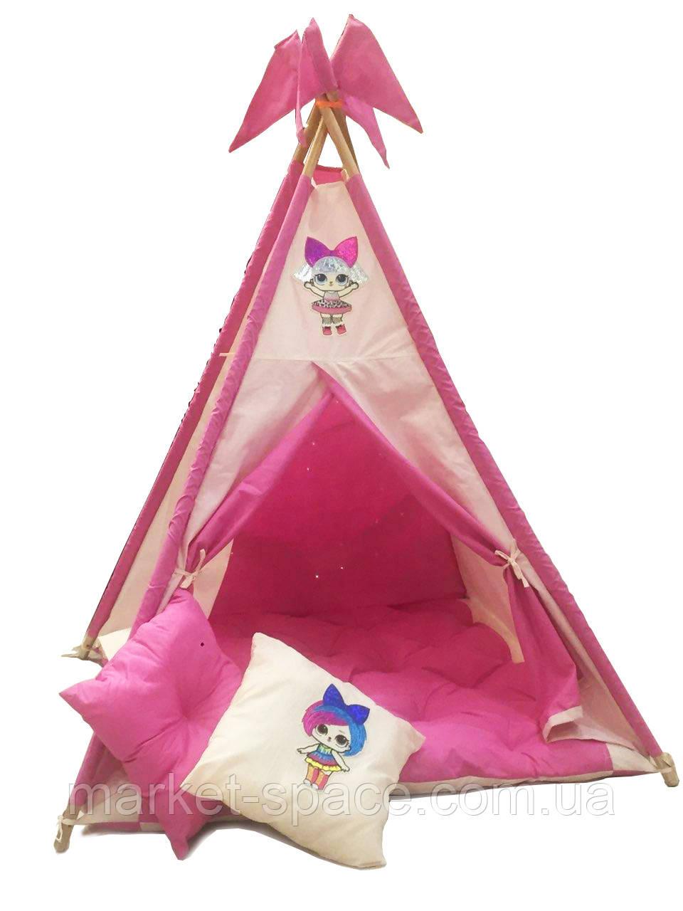 """Вигвам, детская игровая палатка с матрасом и подушками. Расцветка """"LOL"""""""