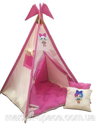 """Вигвам, детская игровая палатка с матрасом и подушками. Расцветка """"LOL"""", фото 2"""