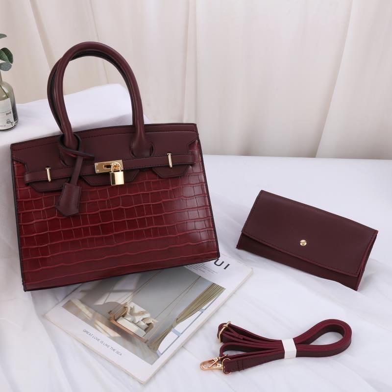 Женская сумка 2в1, экокожа PU (бордовый)