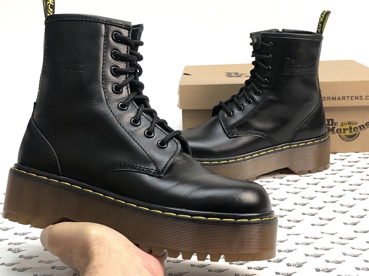 Женские ботинки Dr.Martens  JADON кожа, черные. ТОП Реплика ААА класса.