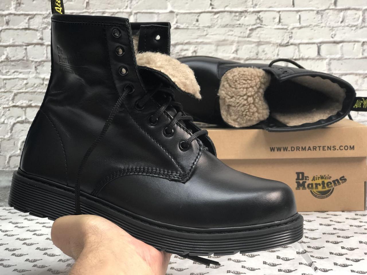 Мужские ботинки Dr.Martens Dr.Martens черные кожа, зима.  ТОП Реплика ААА класса.