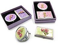 Подарочный набор зеркальце с визитницей 15,5х12,5х3,5см (23991)