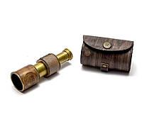 Подзорная труба в кожаном футляре 12х3,5х3,5см (26597)
