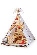 """Вигвам, детская игровая палатка с матрасом и подушками. Расцветка """"Молния МакКуин"""""""