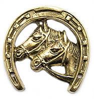 Подкова с лошадьми бронзовая 9,5х9,1х0,6см (23502)
