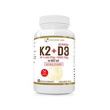 Вітаміни Vitamin K2 MK-7 200mcg + D3 4000IU 100mcg In MCT Oil 60 caps, PROGRESS LABS