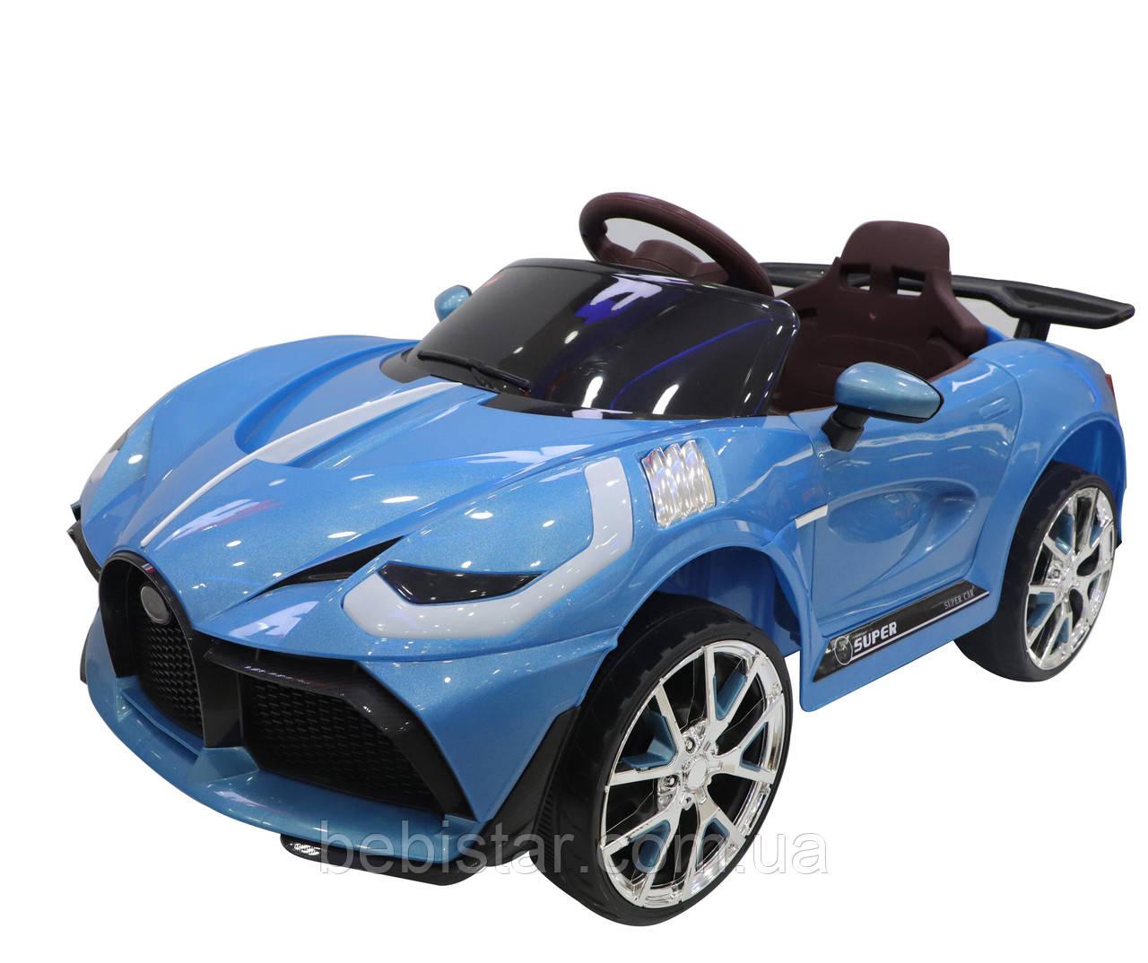 Детский электромобиль синий на EVA колесах детям от 3 лет с пультом и MP3