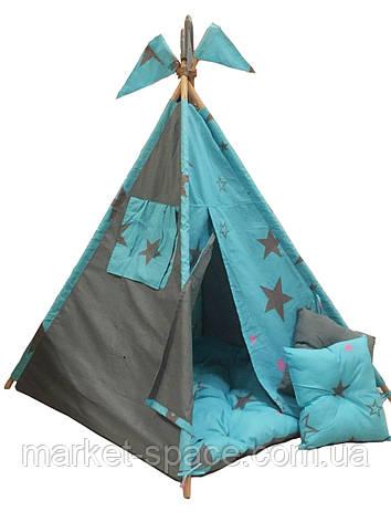 """Детский шалаш вигвам, детская игровая палатка с матрасом и подушками. Расцветка """"Созвездие"""", фото 2"""