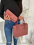 Женская сумка 2в1, экокожа PU (розовый), фото 4