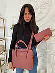 Женская сумка 2в1, экокожа PU (розовый), фото 3