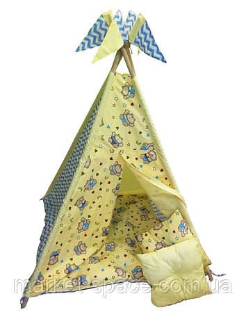 """Вигвам, детская игровая палатка с матрасом и подушками. Расцветка """"Медведи"""", фото 2"""