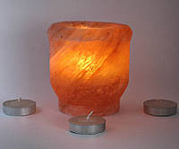 """Подсвечник соляной шлифованный цилиндрический """"Чаша"""" d-10,h-9см (18411)"""