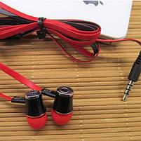 Гарнитура LANGSDOM JM-21 Красная вакуумная с плоским кабелем музыкальная jack 3.5, фото 3