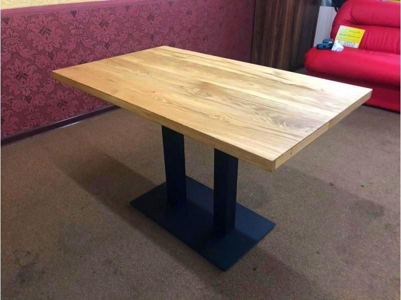 Стол для кафе баров HoReCa с массива дерева ясеня и ножки из металла
