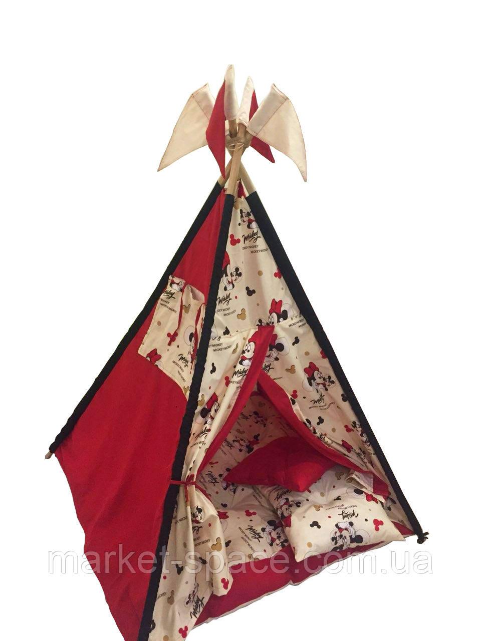 """Вигвам, детская игровая палатка с матрасом и подушками. Расцветка """"Микки"""""""