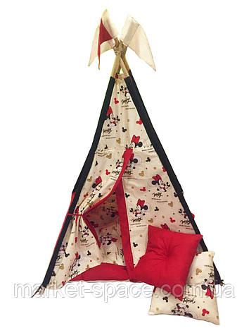 """Вигвам, детская игровая палатка с матрасом и подушками. Расцветка """"Микки"""", фото 2"""