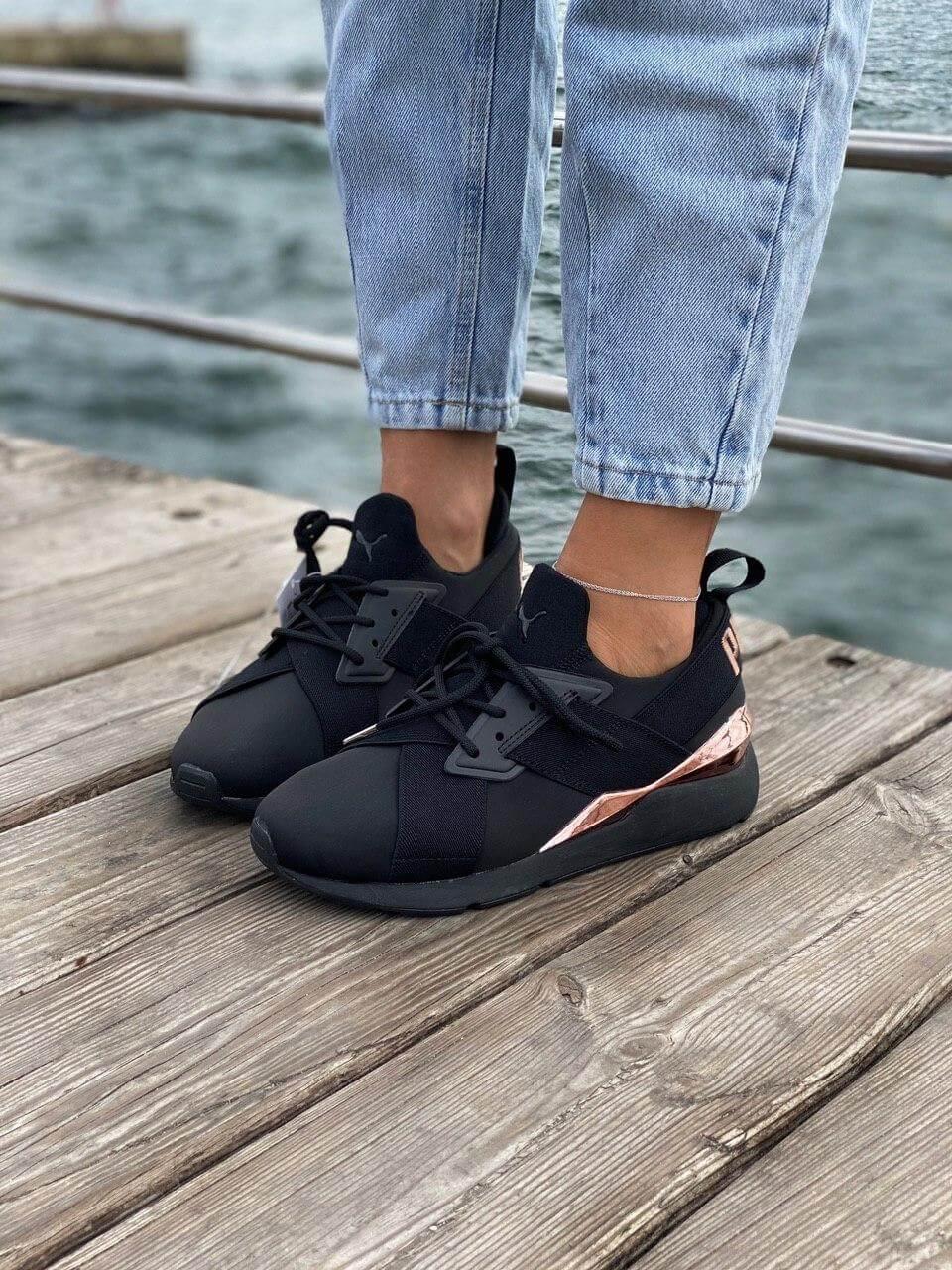 Женские черные кроссовки Puma Muse 2 Satin Strap (Кроссовки Пума Стейн Стреп черного цвета)