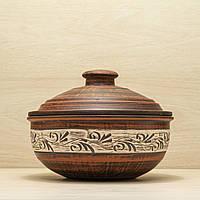 Жаровня глиняная среднеразмерная резка 2,5 л ангоб, фото 1
