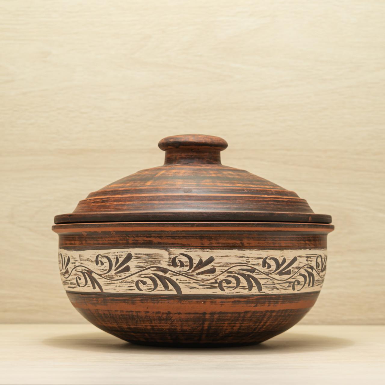Жаровня глиняна среднеразмерная різання 2,5 л ангоб