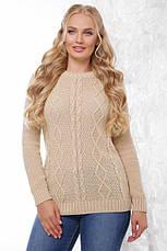Женский вязаный свитер с круглой горловиной и узорами спереди, большой размер, цвет изумрудный, фото 2