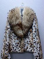 Шуба женская камышовый кот с воротником из енота
